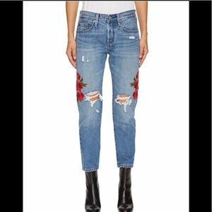 Levi's 501 Floral Embroidery Crop Jeans